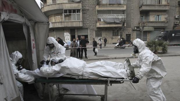 Simulacro de evacuación tras ataque con armas químicas en Aleppo