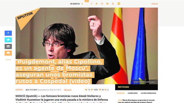 Web de Spútnik haciéndose eco de la broma a Cospedal