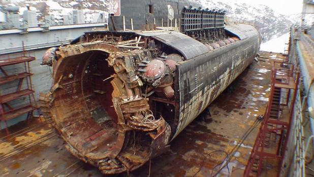 Parte del submarino Kursk, que fue recuperado años después