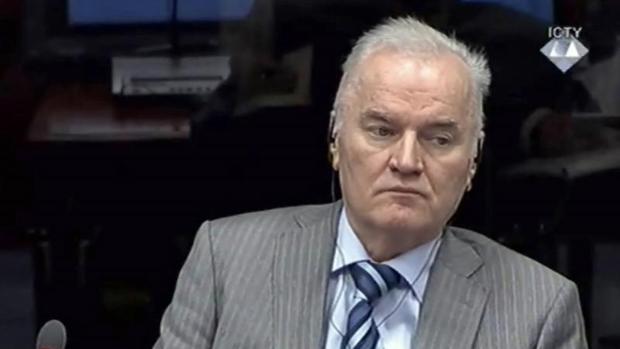 Captura de vídeo del 28 de enero de 2014 que muestra al ex militar serbiobosnio Ratko Mladic durante un juicio
