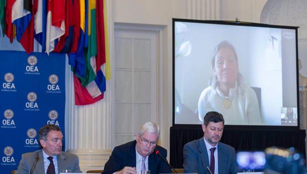 La magistrada Ralenis Tovar, durante su declaración ante la OEA el pasado 16 de octubre