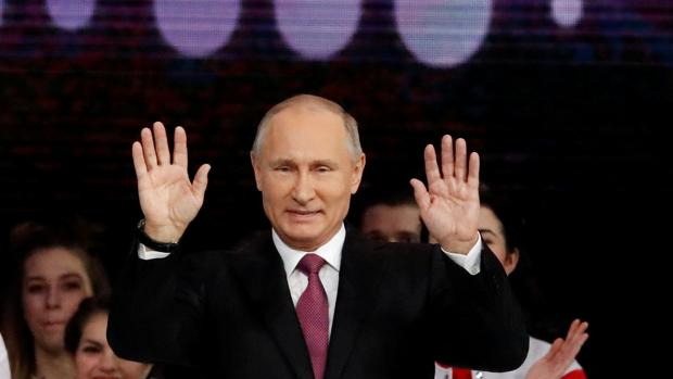 El presidente Vladímir Putin, hoy, durante un acto en Moscú