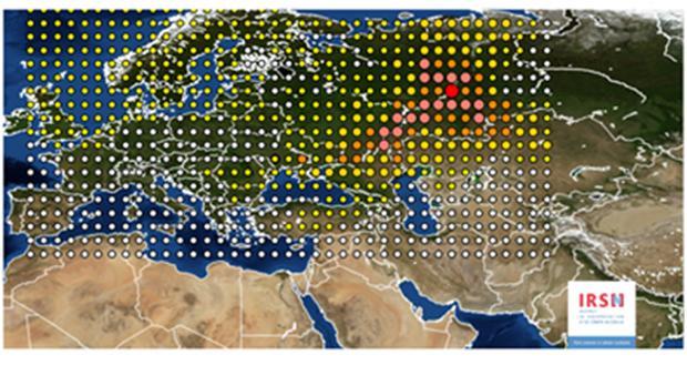 Mapa del Instituto de Protección Radiológica y Seguridad Nuclear sobre la detección de rutenio-106