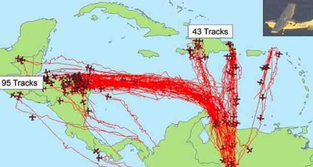 De Venezuela a Honduras: imagen de 2011 elaborada por el Comando Sur de EE.UU. sobre narco-vuelos
