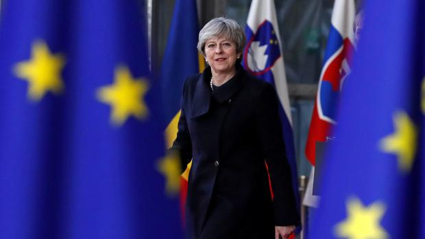 Theresa May, este jueves a su llegada a la cumbre de Bruselas