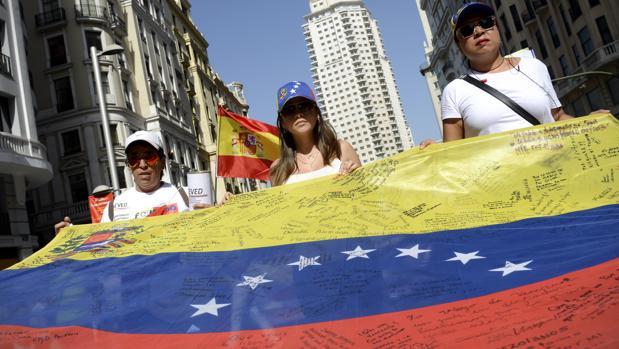 Manifestación en Madrid contra el régimen de Nicolás Maduro en 2016