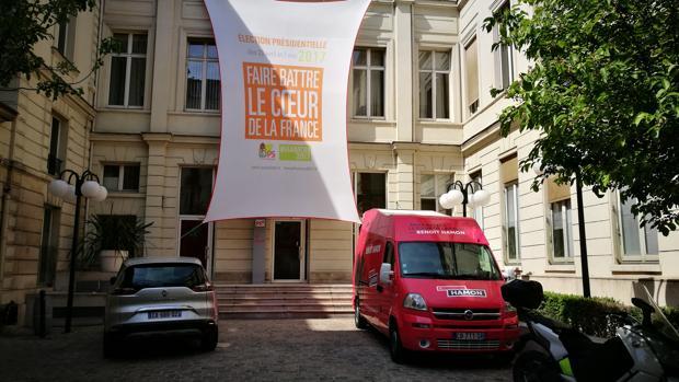 Interior de la sede del PSF en las anteriores elecciones francesas