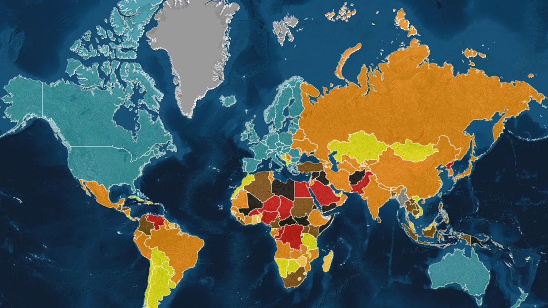 El mapa de los pa ses m s peligrosos del mundo en 2017 for Mapa del mundo decoracion