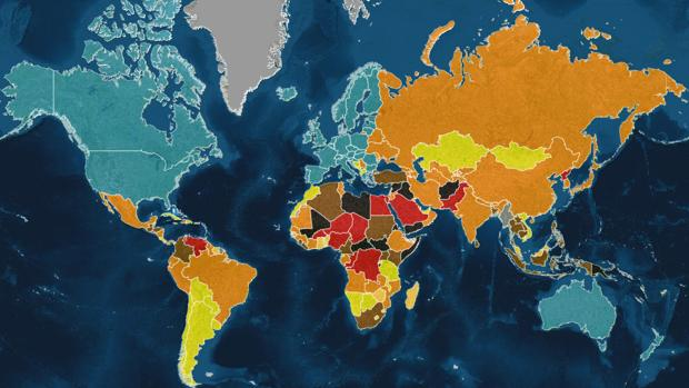 The map of the most dangerous countries in the world in 2017 gumiabroncs Gallery