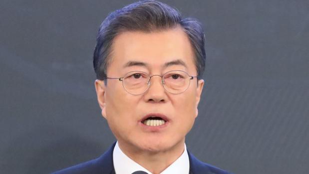Moon Jae-In, durante una transmisión de televisión en vivo sobre la conferencia de prensa de Año Nuevo