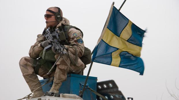 Un militar sueco en unas maniobras