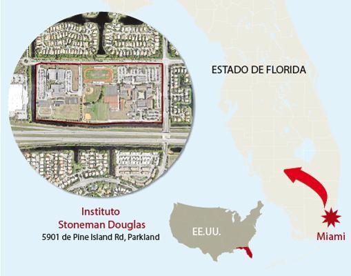 Mapa del lugar donde ha tenido lugar el tiroteo
