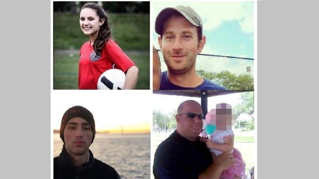 De izquierda a derecha, y de arriba a abajo, Alyssa Alhadeff, Scott Beigel, Joaquín Oliver y Aaron Feis