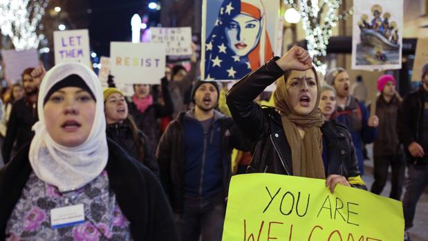 Manifestación en Seattle (EEUU) contra el veto de Trump a los musulmanes