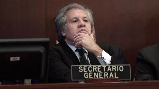 Luis Almagro, secretario general de la OEA, durante la sesión extraordinaria sobre Venezuela, este viernes en Washington