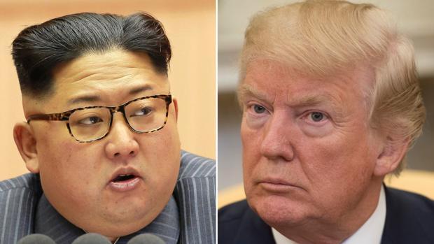 De izquierda a derecha: el mandatario norcoreano, Kim Jong-un, y su homólogo estadounidense, Donald Trump