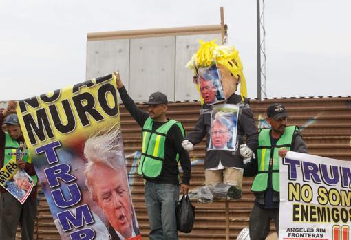 Protesta contra las políticas de inmigración de Trump en la ciudad de Tijuana, en el estado de Baja California