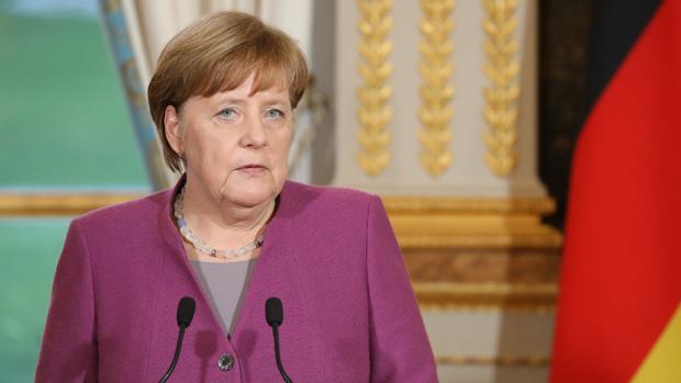 La canciller Angela Merkel, este viernes durante su visita al presidente Macron en París
