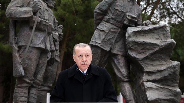 El presidente Erdogan, este domingo durante un acto en memoria de la victoria turca en la batalla de Gallipoli