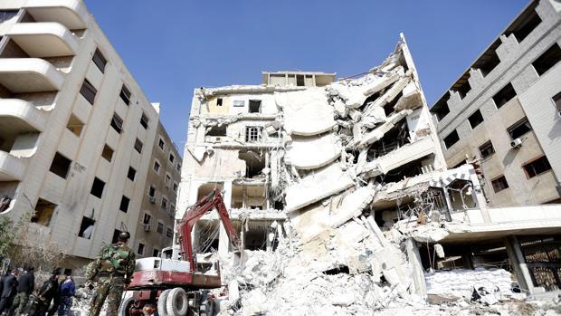 Imagen de archivo de un edificio bombardeado en Siria