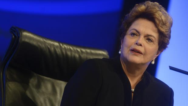 La expresidenta brasileña, Dilma Rousseff, durante su conferencia este martes en la Casa de América, en Madrid