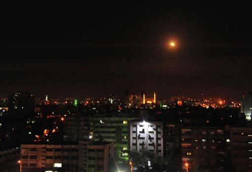 Explosión sobre los cielos de Damasco