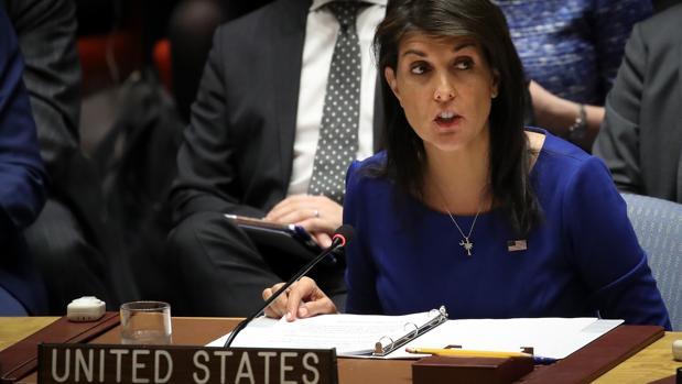 La embajadora de EE.UU. ante la ONU, Nikki Haley, en el Consejo de Seguridad
