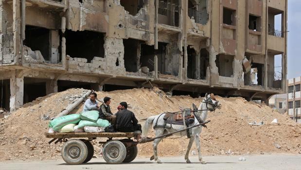 La ciudad siria de Duma, a las afueras de Damasco, este martes