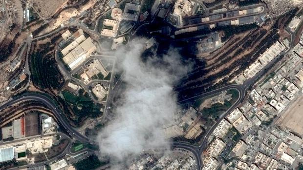 Imagen por satélite de una de las instalaciones destruidas por los bombardeos en Siria