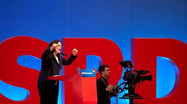 Andrea Nahles, líder designada del Partido Socialdemócrata (SPD), habla durante una convención del partido Socialdemócratas (SPD)