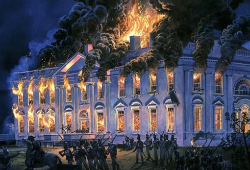 El incendio de la Casa Blanca en 1814, por Tom Freeman