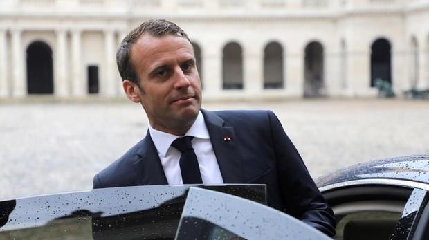 El prediente francés Emmnuel Macron en París