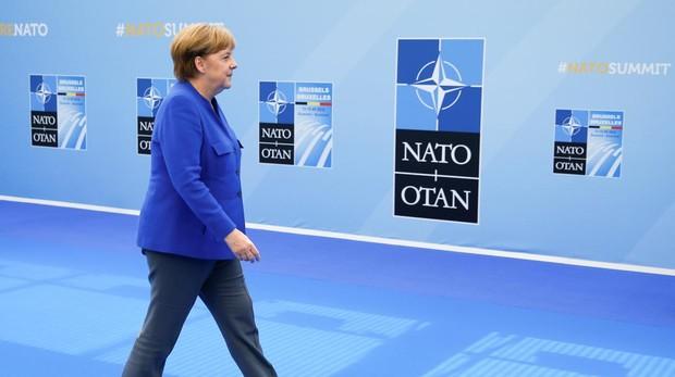 Angela Merkel a su llegada a la sede de la OTAN en Bruselas