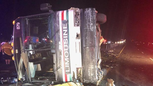 Situación del autobús tras el accidente