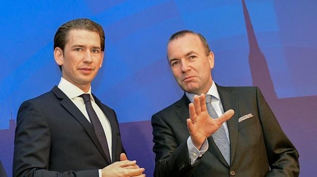 Sebastian Kurz, primer ministro austriaco y Manfred Weber presidente del PPE en Viena