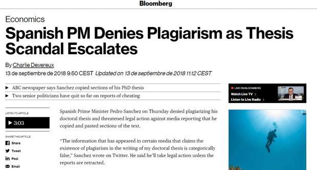 Amplio eco en la prensa internacional de la exclusiva de ABC sobre el plagio de la tesis de Pedro Sánchez