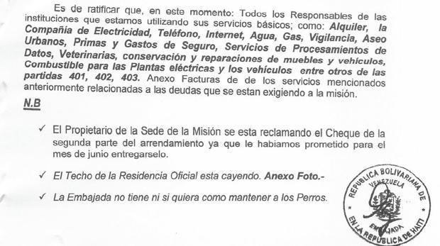 Fragmento del escrito dirigido al ministro de Exteriores por el embajador en Haití, Luis Ernesto Díaz Curbelo