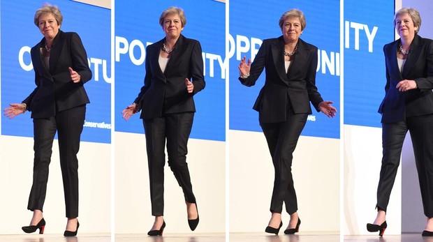 Theresa May no convence ni con su discurso sobre el Brexit ni con su baile