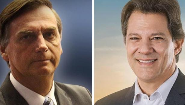 A la izquierda, el candidato ultra jair Bolsonaro, y a la derecha, el heredero de Lula, Fernando Haddad