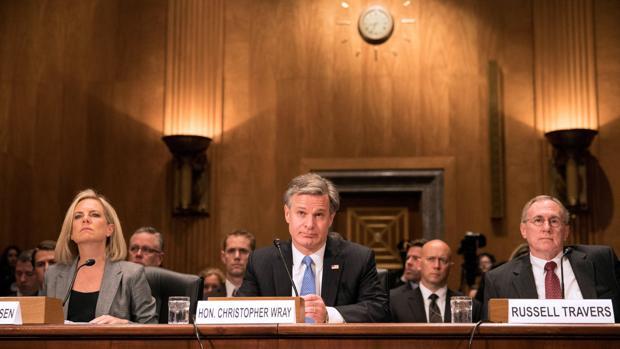Los tres responsables de la seguridad de EE.UU. durante su comparecencia ayer en el Senado