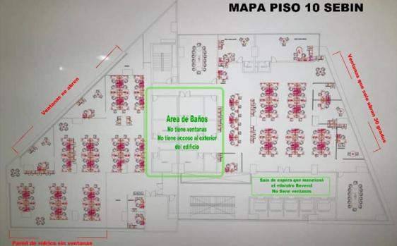 Plano del piso 10 del edificio del Sebin en Caracas