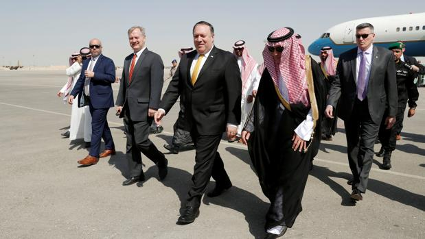 Mike Pompeo a su llegada a Riad
