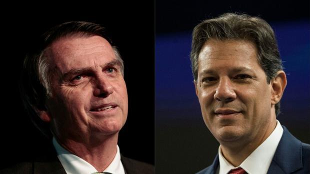 Los candidatos presidenciales de Brasil, Jair Bolsonaro y Fernando Haddad