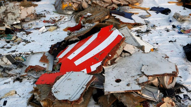 Restos del avión accidentado de la compañía Lion Air