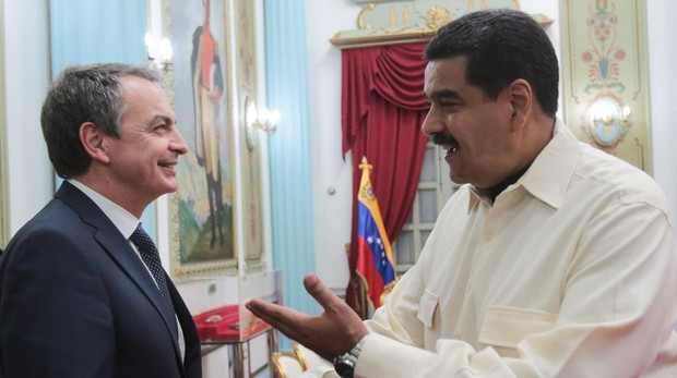 El expresidente José Luis Rodríguez Zapatero, durante una de sus visita a Nicolás Maduro