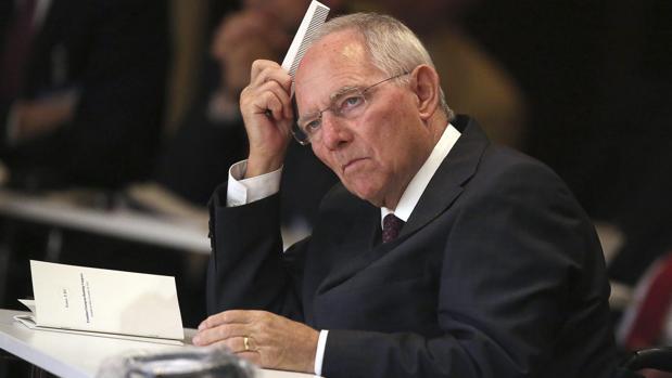 Wolfgang Schäuble, asiste a un congreso de banca celebrado en Fráncfort
