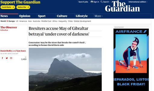 Captura de pantalla del periódico británico «The Guardian»