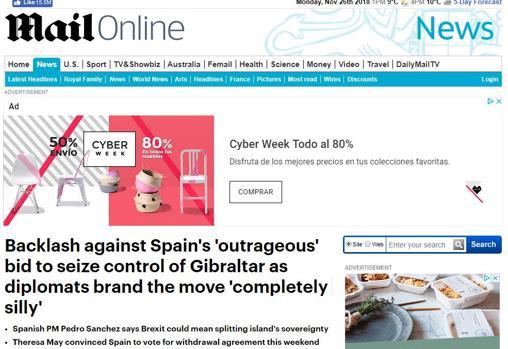 Captura de pantalla del periódico británico «Daily Mail»
