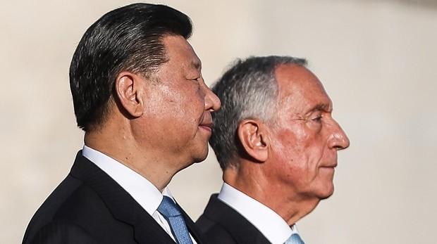 El presidente portugués, Marcelo Rebelo de Sousa, recibe a su homólogo chino, Xi Jinping