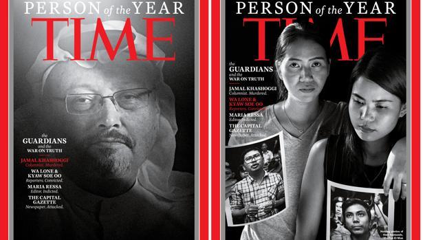 Jamal Khashoggi y los periodistas de Reuters Wa Lone y Kyaw Soe Oo, en la revista «Time»